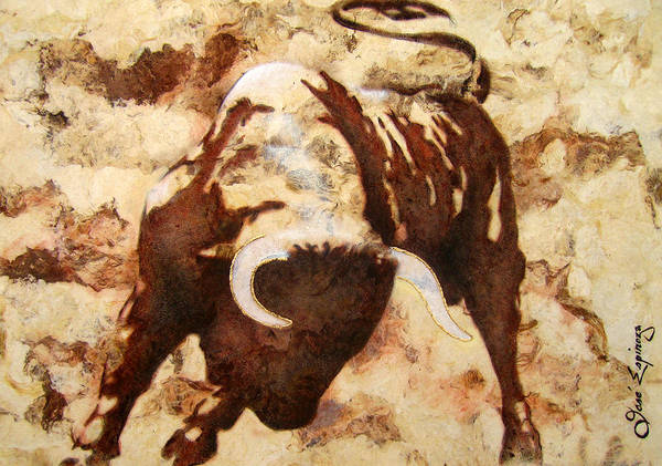 Torero Wall Art - Painting - Fight Bull by J  - O   N    E