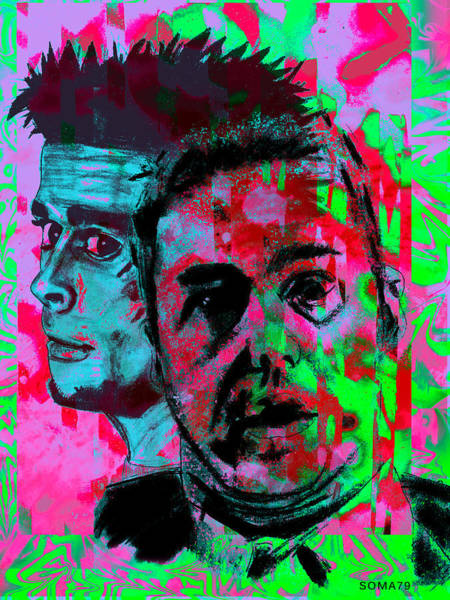 Brad Pitt Digital Art - Fight Club - Burning Rainbow Remix by Soma79