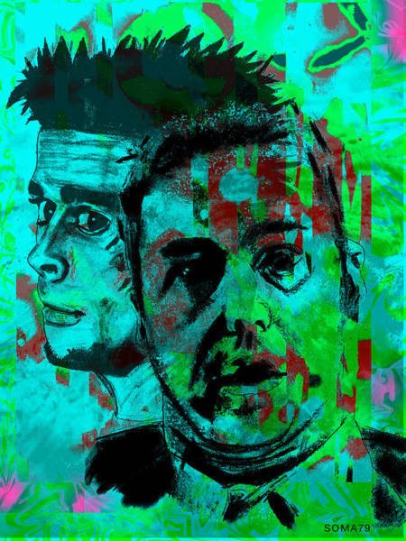 Brad Pitt Digital Art - Fight Club - Green As Grass Remix by Soma79