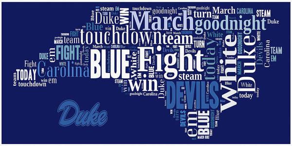 Wall Art - Digital Art - Fight Fight Blue Devils by Paulette B Wright