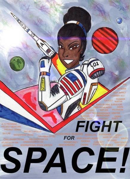 Space Exploration Mixed Media - Fight For Space by Ronald Woods