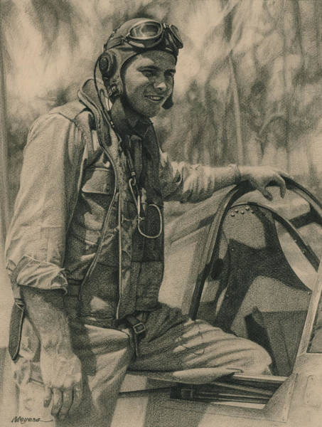 Usaaf Wall Art - Drawing - Fighter Pilot by Wade Meyers
