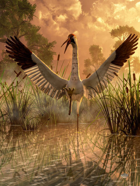 Digital Art - Fighting Crane by Daniel Eskridge