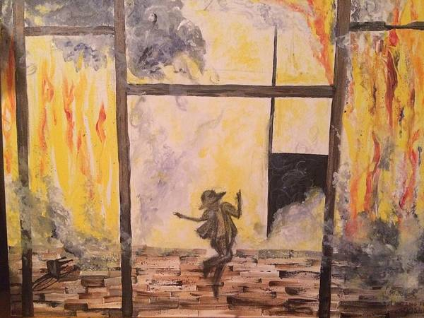 Denial Painting - Fighting Fire Tap Dancer by Tonya Walter