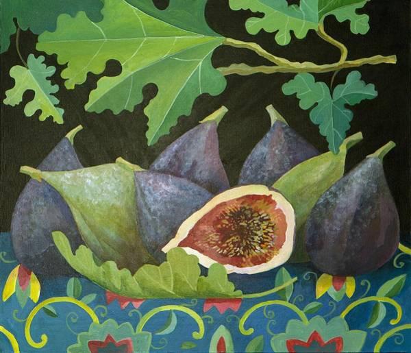 Veg Painting - Figs On Black by Judy Joel