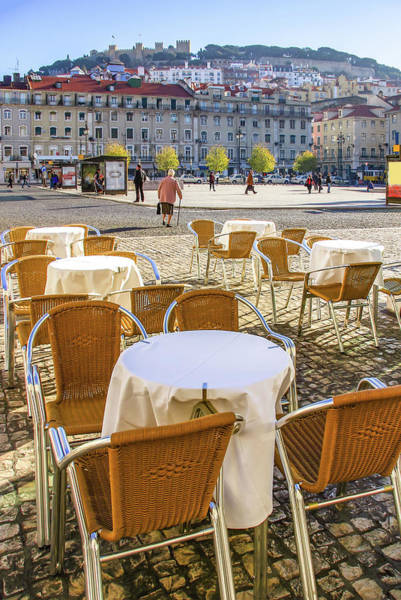 Outdoor Cafe Photograph - Figueira Square Lisbon by Carlos Caetano