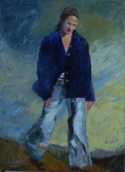 Painting - Figure In The Dark Jacket by Irena Jablonski