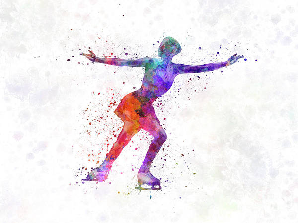 Figure Skating Painting - Figure Skating 1 In Watercolor With Splatters by Pablo Romero