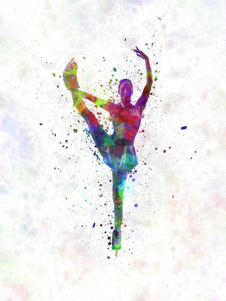 Figure Skating Painting - Figure Skating 3 In Watercolor With Splatters by Pablo Romero