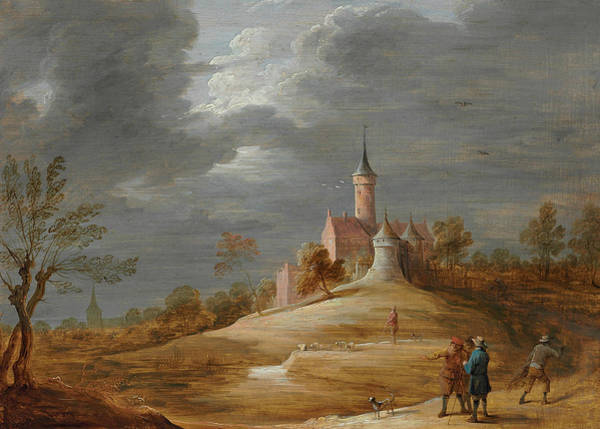 Beyond Painting - Figures In A Landscape With A Castle Beyond by David Teniers the Younger