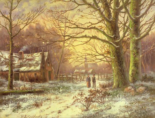 Winter Walk Painting - Figures On A Path Before A Village In Winter by Johannes Hermann Barend Koekkoek