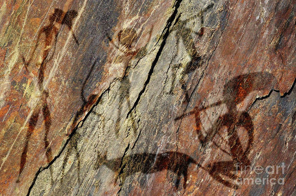 Old Wall Art - Photograph - Figures On Rock by Michal Boubin