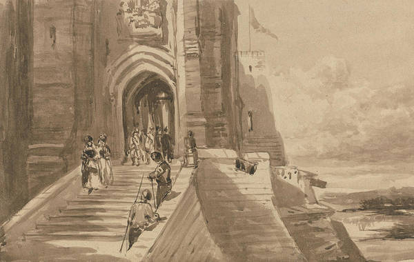 Drawing - Figures On The Outer Staircase Of A Castle by David Cox