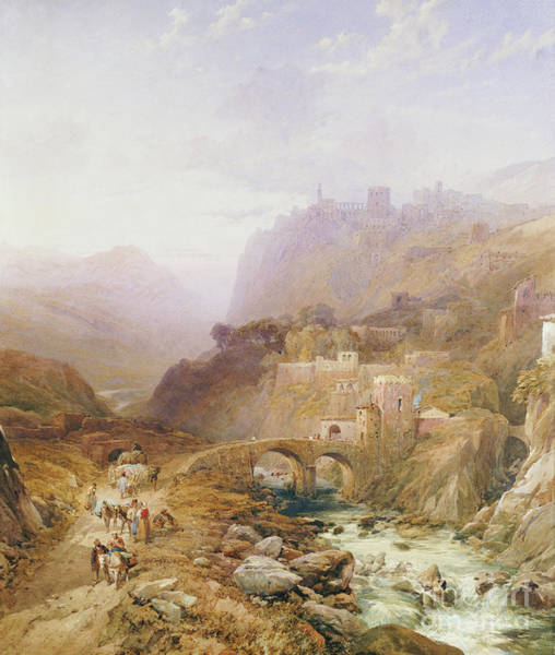 1879 Painting - Figures On The Road Below Fort Leon, Sicily by Thomas Miles Richardson II