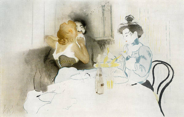 Flirting Drawing - Figures Seated In A Caf by Vintage Design Pics