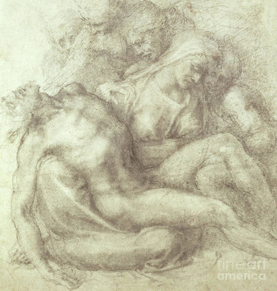 Wall Art - Drawing - Figures Study For The Lamentation Over The Dead Christ, 1530 by Michelangelo