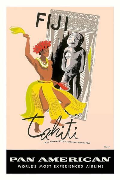 Tahiti Wall Art - Digital Art - Fiji And Tahiti Native Dancer Vintage Aviation Poster By A. Amspoker by Retro Graphics