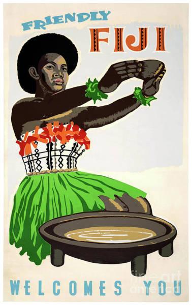 European Vacation Mixed Media - Fiji Restored Vintage Travel Poster by Vintage Treasure