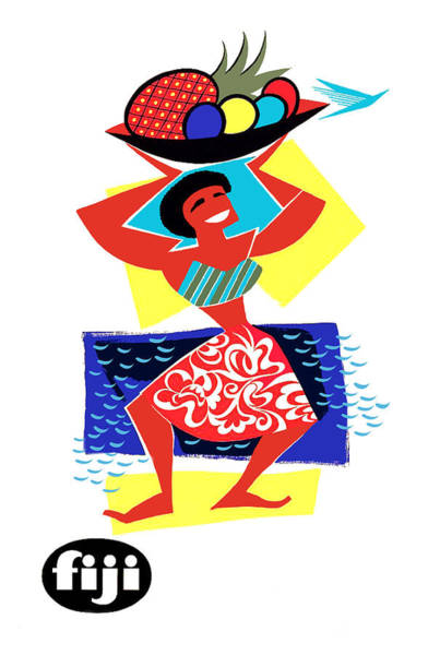 Tropics Digital Art - Fiji, Woman With Basket Full Of Tropic Fruits by Long Shot