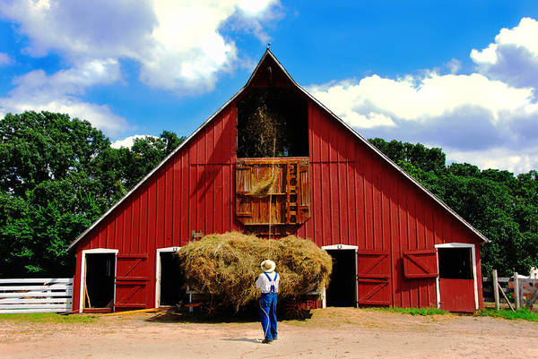 Old Barn Photograph - Filling The Haymow by Lyle  Huisken