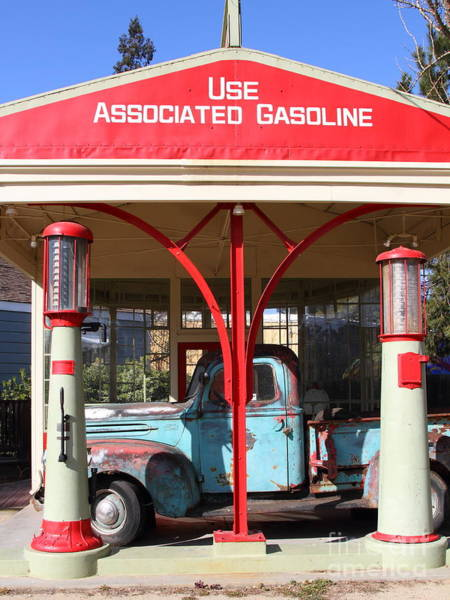 Photograph - Filling Up The Old Ford Jalopy At The Associated Gasoline Station . Nostalgia . 7d12884 by Wingsdomain Art and Photography