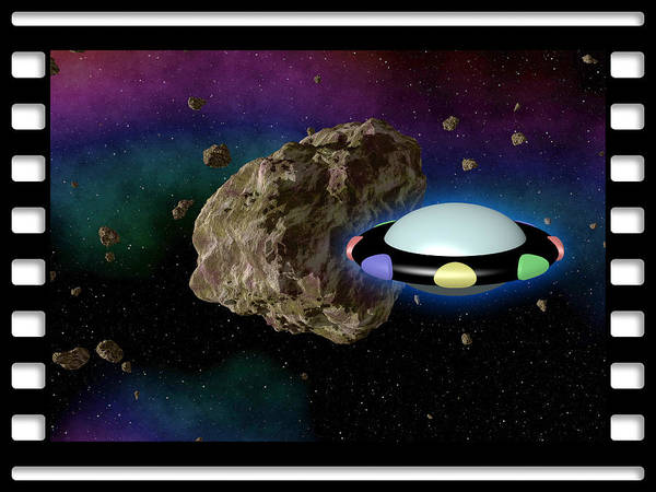 Negative Space Digital Art - Film Frame With Asteroid And Ufo by Miroslav Nemecek