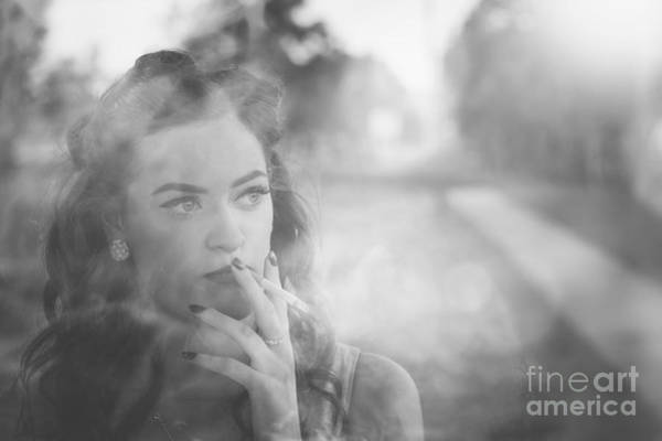 Photograph - Film Noir Lady Smoking Cigarette On Vintage Street by Jorgo Photography - Wall Art Gallery