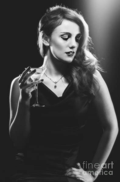 Hollywood Star Photograph - Film Noir Woman Drinking A Martini by Amanda Elwell
