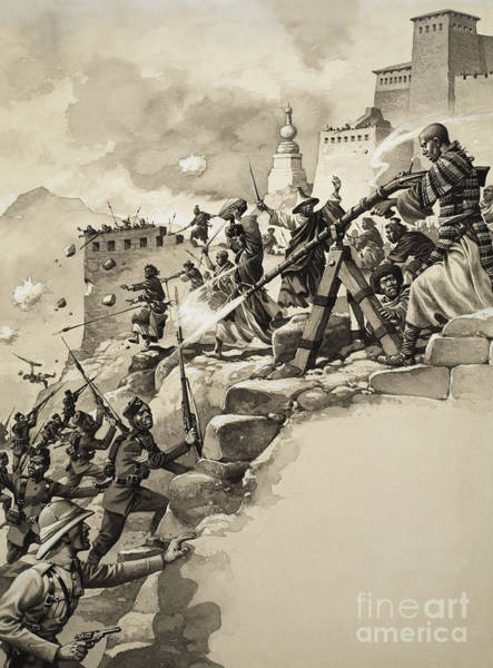 Wall Art - Painting - Final Assault On Tibet by Pat Nicolle