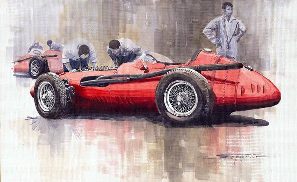 Autosport Wall Art - Painting - Final Check Before The Start Maserati 250 F 1957 by Yuriy Shevchuk