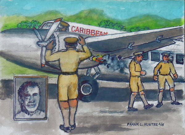 Painting - Final Flight Owen Roberts And Robert Wilson From Palisador Airport Kingston Jamaica Crash On Takeo by Frank Hunter