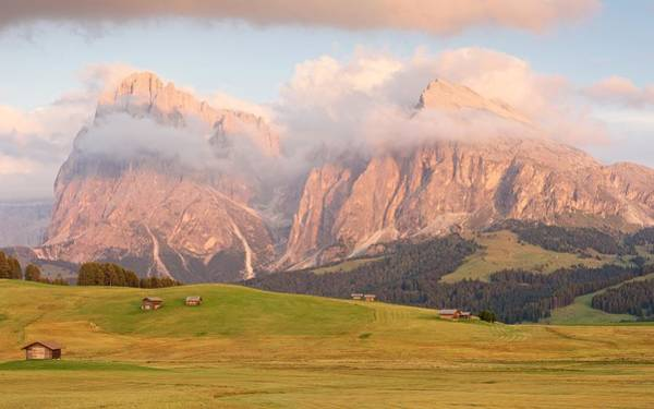 Photograph - Final Light Hits The Langkofel And Sassoungo by Stephen Taylor