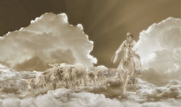 Digital Art - Final Round Up Sepia by Rick Mosher