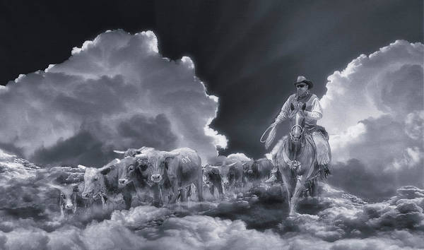 Wall Art - Digital Art - Final Roundup Black And White by Rick Mosher