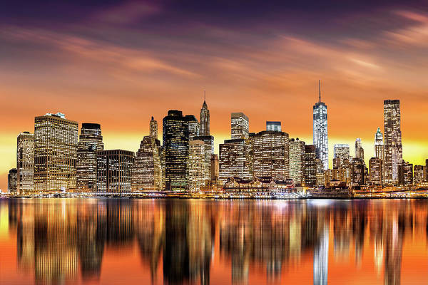 Photograph - Financial District Sunset by Mihai Andritoiu