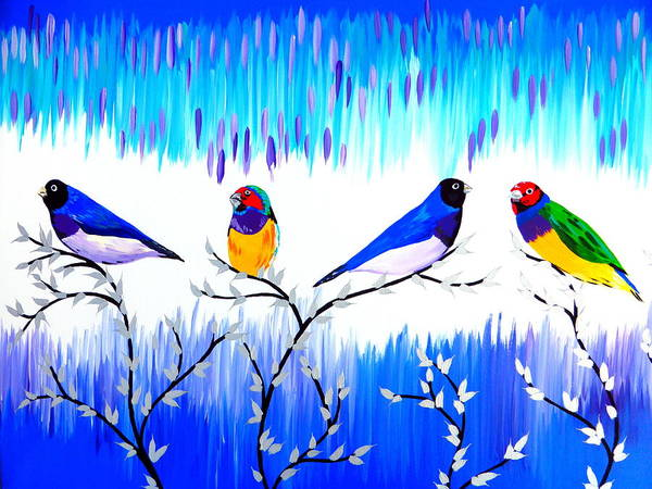 Lovebird Painting - Finches by Cathy Jacobs