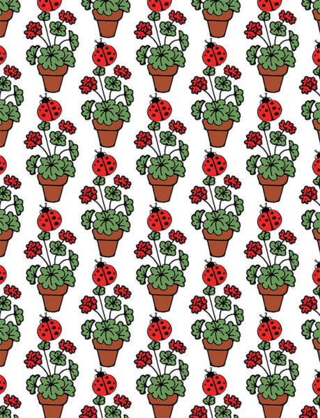 Red Geraniums Wall Art - Digital Art - Find A Ladybug Pattern  by Irina Sztukowski