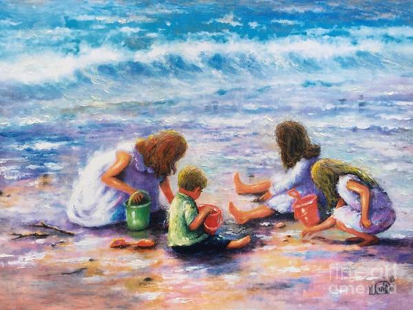 Wall Art - Painting - Finding Sea Shells Four Children by Vickie Wade