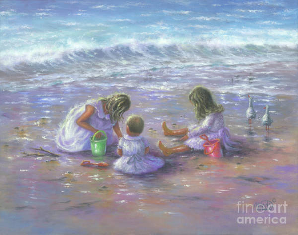 Wall Art - Painting - Finding Sea Shells Three Blondes by Vickie Wade