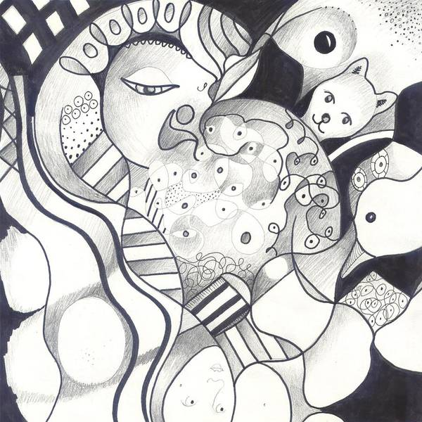 Organic Abstraction Drawing - Finding The Goose That Laid The Egg by Helena Tiainen