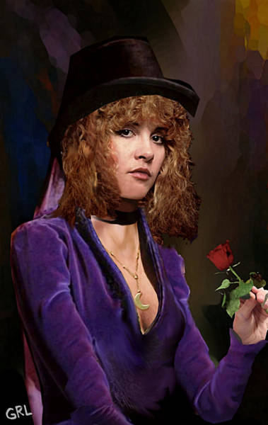 Painting - Fine Art Digital Portrait Stevie Nicks Crescent Moon Top Hat by G Linsenmayer