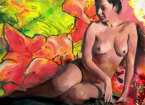 Painting - Fine Art Female Nude Anastasia And Daylilies by G Linsenmayer