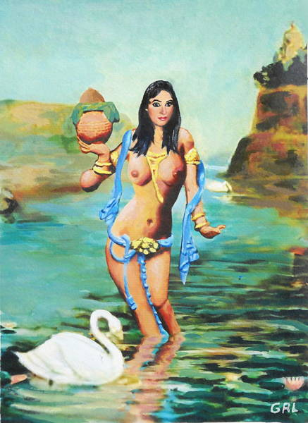 Painting - Fine Art Female Nude Asian River Goddess Multimedia Painting by G Linsenmayer
