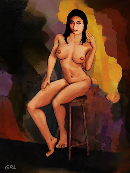 Painting - Fine Art Female Nude Vanna Pose2c Multimedia Painting Dark Background by G Linsenmayer