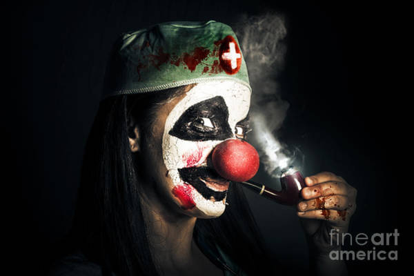 Horrible Photograph - Fine Art Horror Portrait. Smoking Surgeon Clown by Jorgo Photography - Wall Art Gallery