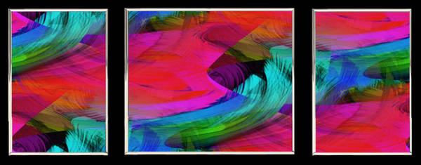 Painting - Fine Art Painting Original Digital Abstract Warp10a Triptych by G Linsenmayer