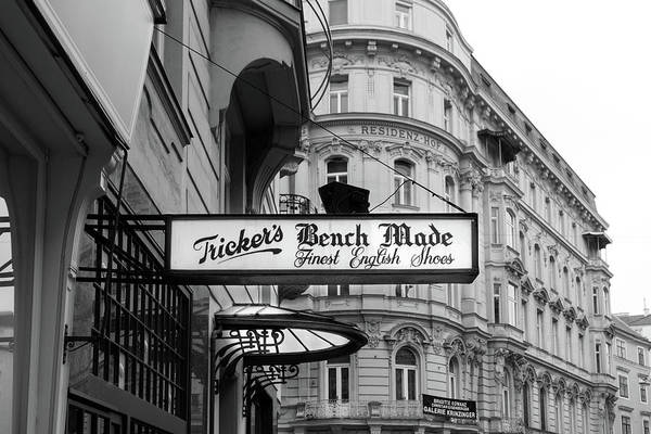 Photograph - Fine English Shoes Sign Black And White by Sharon Popek