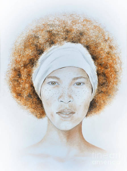 Freckle Drawing - Fine Foxy Fashionable Freckled Female With A Fro by Jim Fitzpatrick