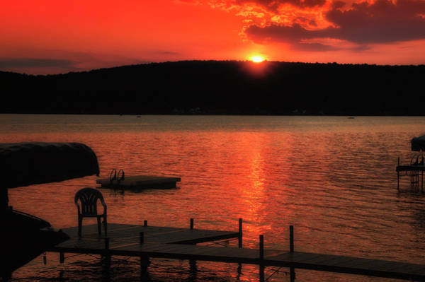 Wall Art - Photograph - Finger Lakes New York Sunset By The Dock 02 by Thomas Woolworth