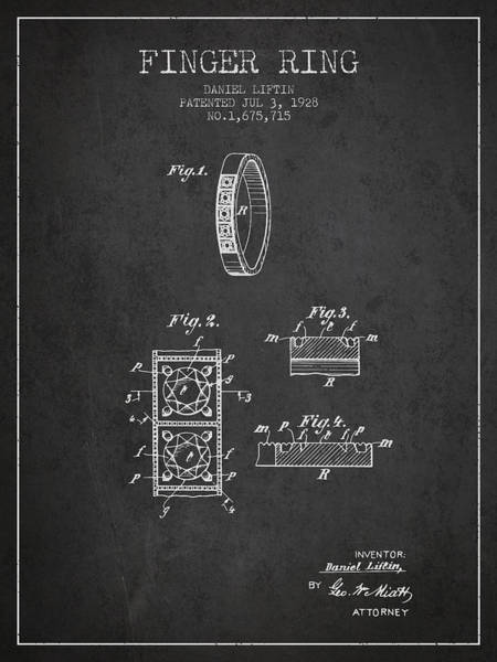Wall Art - Digital Art - Finger Ring Patent From 1928 - Charcoal by Aged Pixel